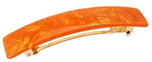 France Luxe Classic Rectangle Barrette - Flake Orange