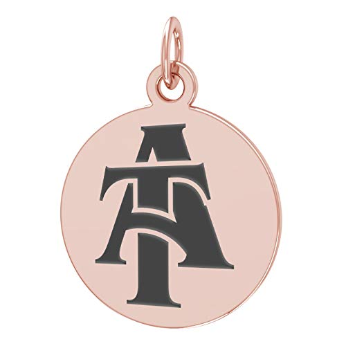 - College Jewelry North Carolina A&T State Aggies Stainless Steel Rose Gold Plated Carbon Raised Round Charm