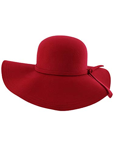 Red Wide Brimmed Wool Floppy Hat - coolthings.us
