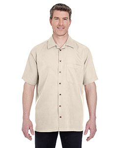 UltraClub Men's Microfiber Cabana Sand Washed Camp Shirt, Small, Stone