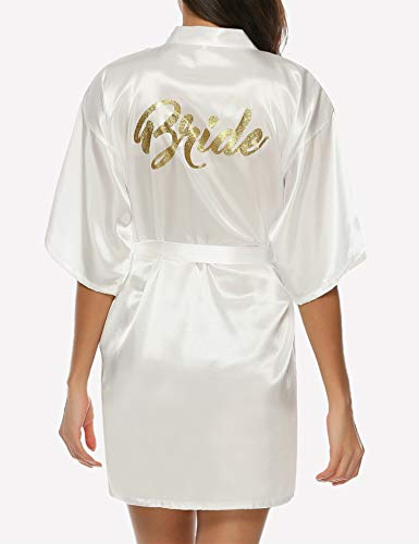 Hawiton Women's Satin Silk Bride & Bridesmaid Robe Gold Glitter Wedding Party Kimono Robes]()