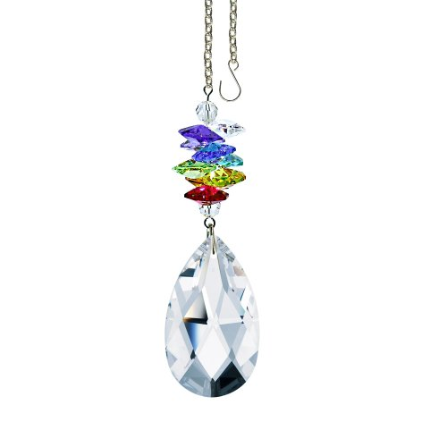 - Crystal Suncatcher 3 inch Crystal Ornament Clear Faceted Almond Prism Colorful Cascade Prisms Rainbow Maker Made with Genuine Swarovski Crystals