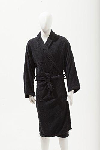 Love2Sleep–Albornoz para hombre y mujer, unisex, 100% algodón, tamaño grande, color negro