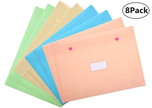 Skydue Plastic Envelope/Poly Envelopes with Snap Button Closure and Label Pocket A4 Size Booklet Document File, Pack of 8