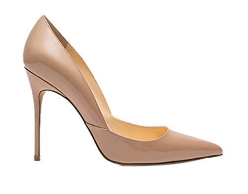 Guoar Kvinnor Spetsig Tå Hög Klack Skor Stilett Pumpar V-cut Dress Shoes Storlek 5 - 12 Us Nude Patent