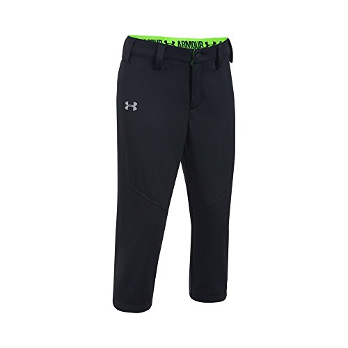 Under Armour Girls' Base Runner Softball Pants, Black/Quirky Lime, Youth Medium