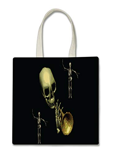 Spooky Skeleton Trumpet Player Halloween Trick Or Treat Polyester White Tote Bag 15x16x 3.5]()