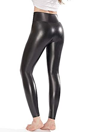 c304f9c471719 Ginasy Black Faux Leather Leggings Pants, Stretchy High Waisted ...