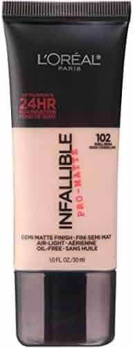 L'Oréal Paris Makeup Infallible Pro-Matte Foundation, 102 Shell Beige, 1 fl. oz.
