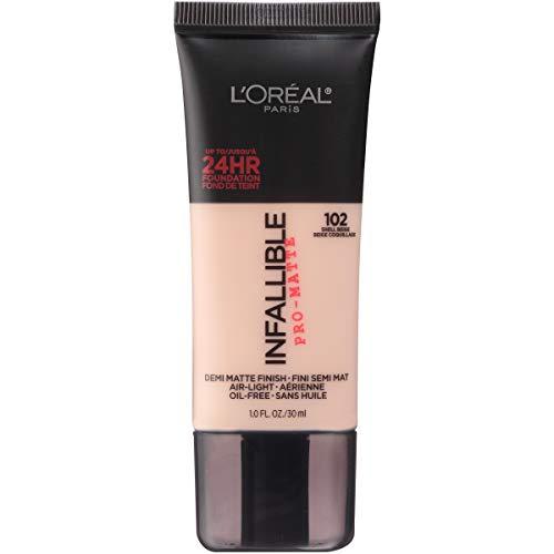 Loreal Infallible Creamy - L'Oréal Paris Makeup Infallible Pro-Matte Foundation, 102 Shell Beige, 1 fl. oz.