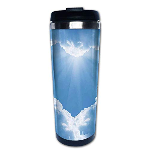 Stainless Steel Insulated Coffee Travel Mug,Romantic Magical Scenery with Sunbeams Creative,Spill Proof Flip Lid Insulated Coffee cup Keeps Hot or Cold 13.6oz(400 ml) Customizable printing