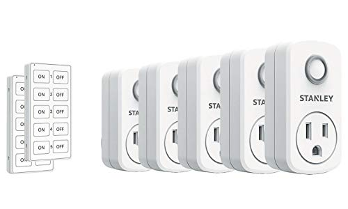Stanley SK506 37206 5-Pack Wireless Light Switch Remote System, 2 Transmitters White