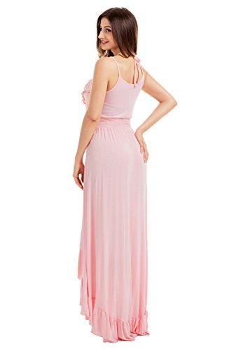 Women's low Pink Maxi Light Up Sexy Neck Black Dresses V Lace Dress Hi Party Ruffle Trim Casual rfABqUPOr