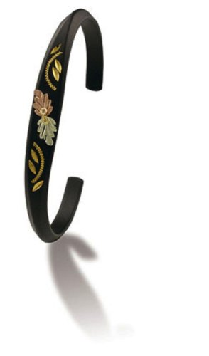 Landstroms Powder Coated Cuff Bracelet with 12k Black Hills Gold Leaves - G - Set Black Hills Gold Jewelry
