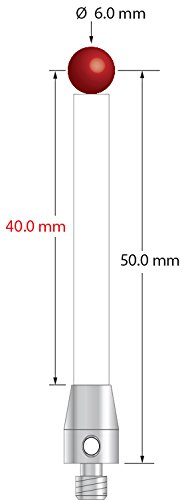 M4 machine tool probe stylus with 6.0 mm ruby ball and ceramic shaft, 50 mm long