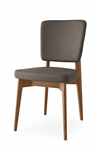 Connubia Escudo Upholstered Wooden Chair - Beech Walnut Frame - Berna Taupe (Calligaris Modern Chair)