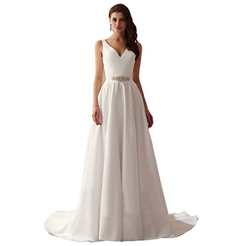 Seasail V-Neck Beading Center Matte Satin Wedding Dress Simple Style A-line Bridal Dress Beach Marry Gowns White 18W