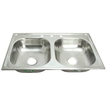 Bon PROPLUS GIDDS 2474255 3 Hole Double Bowl Kitchen Sink For Mobile Homes,  20 Gauge, Stainless Steel, 33 X 19 X 8