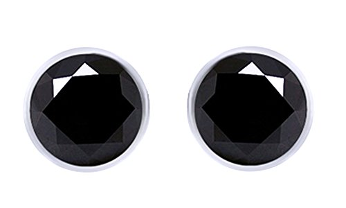 14K White Gold Over Sterling Silver Round Black Cubic Zirconia Solitaire Hip Hop Stud Earrings by wishrocks