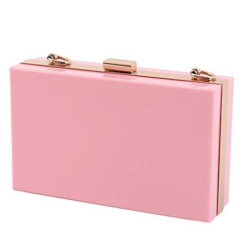 Gold Handbag Snake - L-COOL Cute Acrylic Shoulder Bag Cross-body Bag Evening Clutch Handbag With Gold Snake Chain Shoulder Strap For Women (Pink)