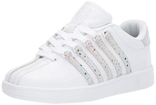 Children White Shoe Kids K-swiss - K-Swiss Unisex Classic VN Sneaker, White/Rainbow, 11 M US Little Kid
