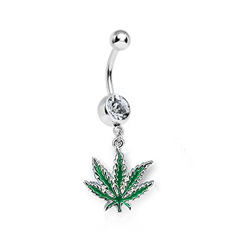 BodyJ4You Pot Leaf Belly Ring 1 Belly Retainer