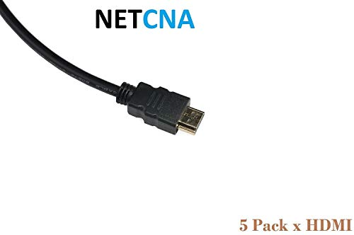 NETCNA - 5 Pack X 3ft HDMI Cable Premium 1.4 Gold 1080P Compatible With PS3...