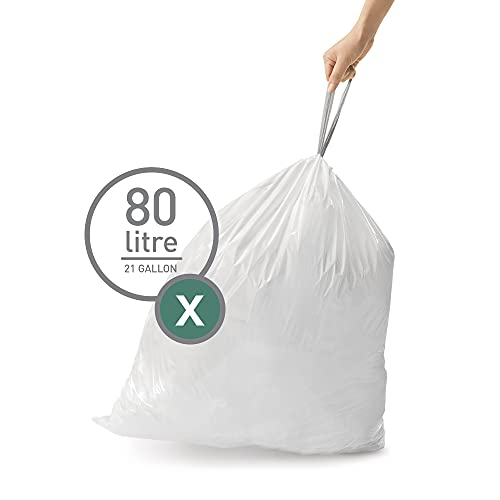 simplehuman Code X Custom Fit Drawstring Trash Bags, 80 Liter / 21 Gallon, White, 60 Count