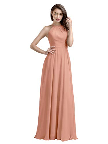AW Bridal Long Bridesmaid Dresses Chiffon Prom Dresses A-Line Formal Dresses for Women, Peach Pink, - Peach Bridesmaids Formal Gown