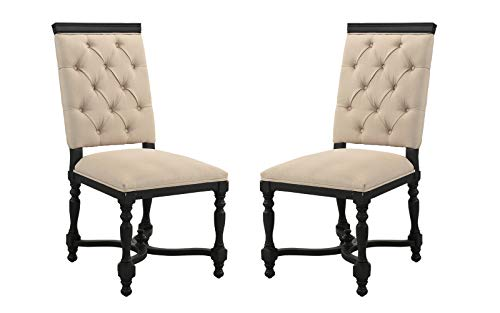 Classic 2 Piece Set Tufted Fabric Dining Room Chairs (Black/Beige)