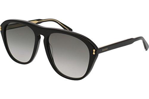 GUCCI GG0128S 007 Black Acetate Aviator Men's - Sunglasses Gucci Aviator Acetate