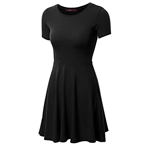 Womens Fit and Flare Short Sleeve Skater Dress New Look bLIt5X