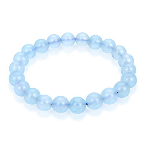 Natural Aquamarine Crystal Gemstone Bracelet 7 inch Stretchy Chakra Gems Stones Healing Crystal (Unisex) GB8-12