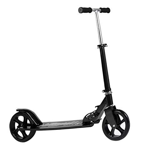 Kids/Adult Scooter with 3 Seconds Easy-Folding System, 220lb Folding Adjustable Scooter with Disc Brake and 200mm Large Wheels (Black-S)