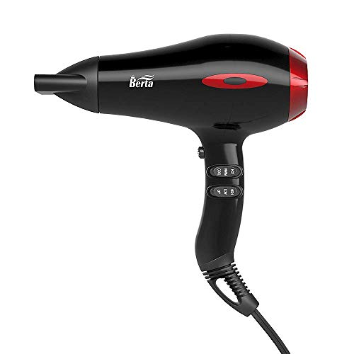 BERTA 1875W Ceramic Tourmaline Hair Dryer Healthy Negative Ionic Blow Dryer 2 Speed 3 Heat Settings...
