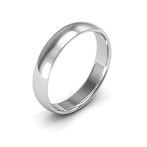 14K White Gold men's and women's plain wedding bands 4mm comfort-fit light, 6 -