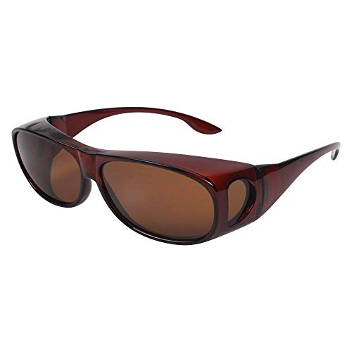 HD NIGHT DAY VISION DRIVING WRAP AROUND ANTI GLARE SUNGLASSES WITH POLARIZED LENSE FOR MAN AND WOMEN (brown lens+brown frame)