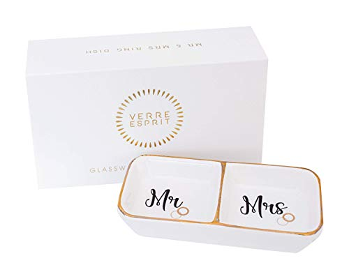 VERRE ESPRIT Mr and Mrs Ring Holder Dish in Beautiful Gift Box - Ceramic Ring Dish - Ideal Engagement Gifts for Couples, Honeymoon Gifts, and Wedding Gifts for The Couple Unique