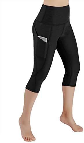 ODODOS High Waist Out Pocket Yoga Capris Pants Tummy Control Workout Running 4 way Stretch Yoga Capris Leggings