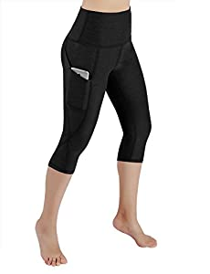 ODODOS High Waist Out Pocket Yoga Capris Pants Tummy Control Workout Running 4 Way Stretch Yoga Capris Leggings,Black,Large
