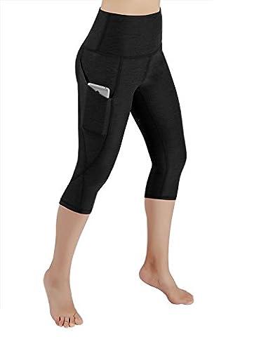 ODODOS High Waist Out Pocket Yoga Capris Pants Tummy Control Workout Running 4 way Stretch Yoga Capris Leggings,Black,X-Large