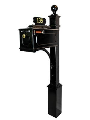 (Addresses of Distinction Williamsburg Estate Mailbox & Post System – Black Rust Resistant Mailbox Kit – Includes Address Plate, Mounting Hardware - Powder Coated Aluminum Box, Post & Finial)