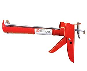 TBC Heavy Duty Smooth Rod Caulk Gun 1/10th Gallon. Thumb Release to Stop Flow. Clean-Out Prong in Back Of Grip. Spout Cutter in Trigger Area. Rugged and Economical