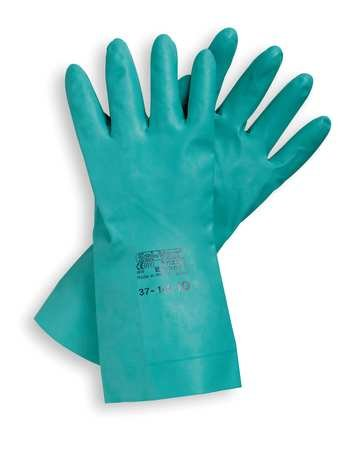 Ansell Chemical Resistant Gloves Size 9 Nitrile 15 Mil 13 In Long Sandpatchfinish Unlined Straight Cuff Green Sol-Vex 37-155-9 12Pairs