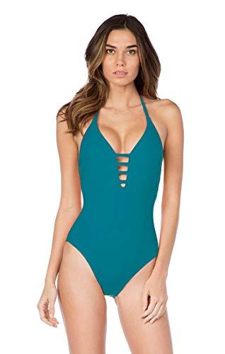 La Blanca Women's Island Goddess Lattice Front Strappy Back Halter One Piece Swimsuit, Marina, 10