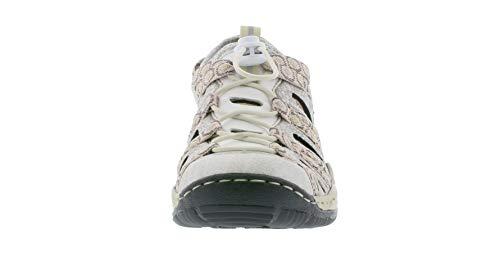 on 80 silverflower rosa L0577 Deportiva de Zapatilla silver Mujer de weiss calzado slip Rieker Informal White Ocio Moda afqTXwga