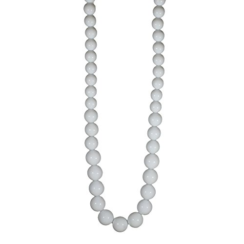 Red Cube Women White Vintage Classic Plastic Beaded Thread Necklace Beads Jewelry (White) -