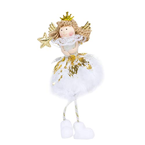 AMOSFUN Christmas Decoration Cute Sitting Angel Doll Desktop Decoration Pendant Christmas Tree Ornaments (White)
