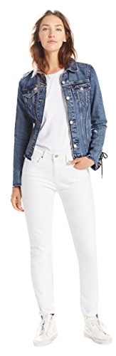 Rise Fly Zip Mid Jeans (Levi's Women's Mid Rise Skinny Jean, Soft White/Neon/Denim, 34 (US 18) R)