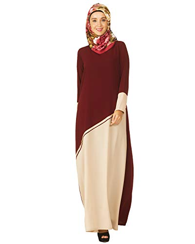 Modest Forever Maroon and Beige Pintuck Abaya Burkha for Women
